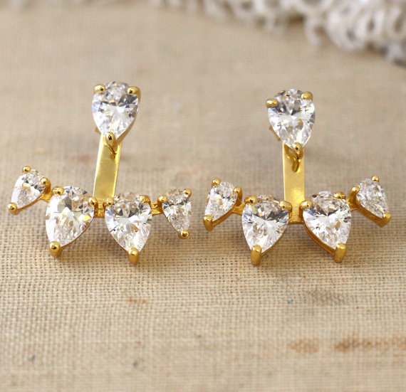 Ear Jacket Earrings Crystal Gold Diamond Bridal Trending Jewelry White Studs Stud