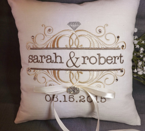 Monogram Wedding Ring Bearer Pillow: Ring Bearer Pillow, Personalized Ring Bearer Pillow