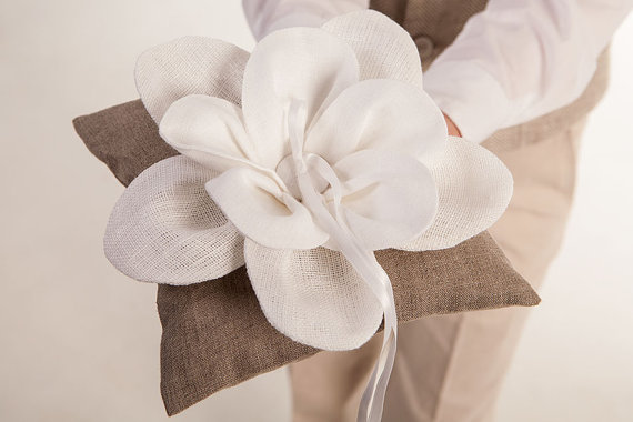 Wedding - Wedding party ring bearer linen pillow rustic wedding ring pillow natural linen pillow flower wedding accessories beach wedding pillow white