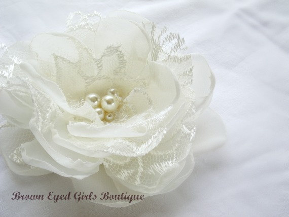 Wedding - Ivory Lace Bridal Flower Hair Clip, Ivory Lace Wedding Hair Accessory