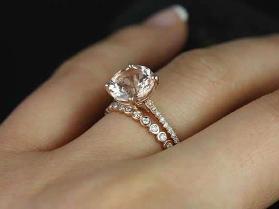 eloise 9mm petite bubbles 14kt rose gold round morganite and diamonds cathedral wedding set other metals and stone options available - Rose Gold Diamond Wedding Ring