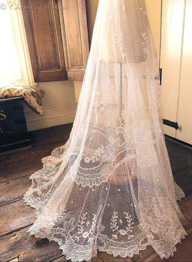 Mariage - Stunning Rare Antique Victorian Tambour Lace Bridal Skirt Circa Late 1800s