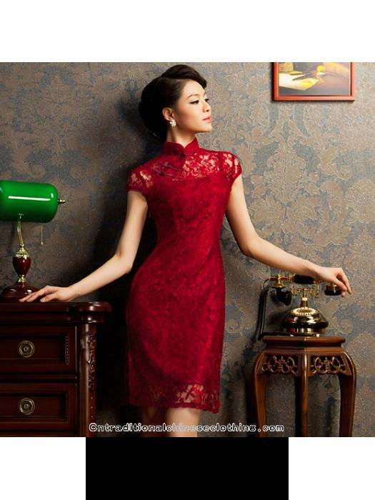 Свадьба - Burgundy red floral lace modern qipao short Chinese cheongsam dress