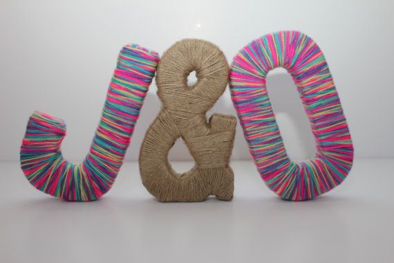 8 Free Standing Personalized Paper Mache Letters With Multicolored Wool Yarn And Jute Symbol Wedding Decor Home