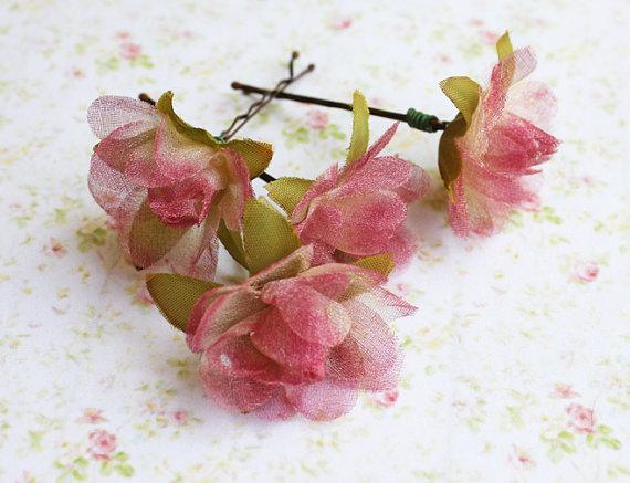 Mariage - Everlasting Love Flower Hair Bobby Pins. Light Plum. Woodland. Fall. Autumn. Weddings Hair Pins. Hair Accessories. Bridal. Set of 4