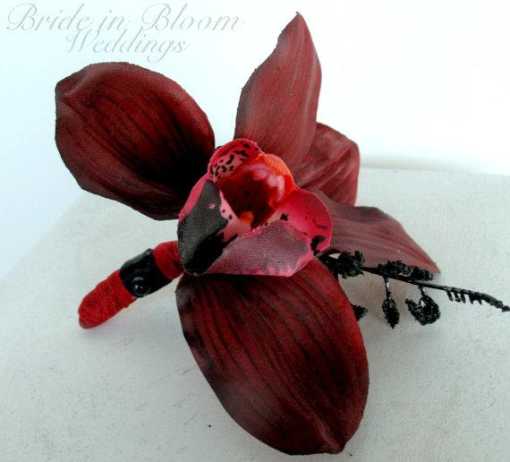 Hochzeit - Mens wedding boutonnieres Red black orchid Boutonniere Grooms Groomsmen accessories