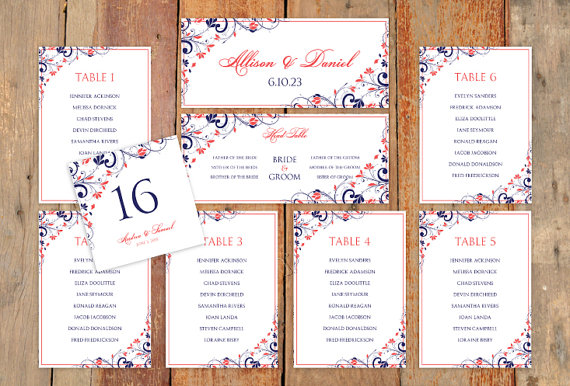 زفاف - Wedding Seating Chart Template - DOWNLOAD Instantly - EDITABLE WORDING - Chic Bouquet (Navy & Coral)  - Microsoft Word Format