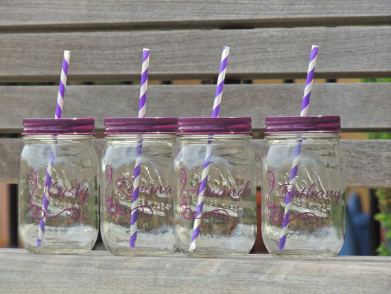 Wedding Party Favor Glass Mason Tumblers Jar Colored Jars Bridesmaid Drinking Bachelorette