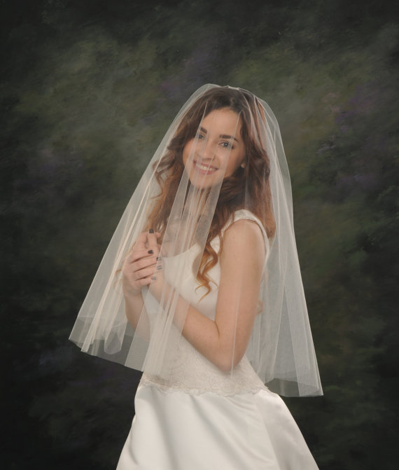 Свадьба - Drop Wedding Veil Elbow Circular Bridal Veil 26 front 30 back White Blusher Veil Ivory Traditional Illusion Tulle
