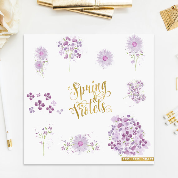 Mariage - Watercolor Violets ClipArt Intant Download Digital Purple Clover Flowers High Resolution Floral Green Leaves Bouquet Wedding Invitation DIY