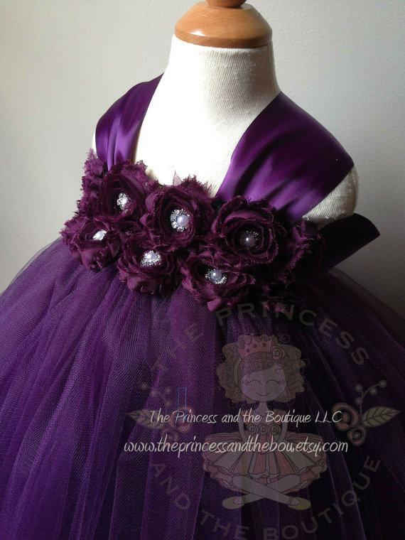 Wedding - Eggplant flower girl dress, tutu dress, plum purple