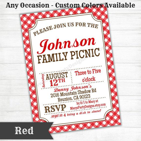Mariage - Picnic BBQ Western Invitation - Baby Bridal Wedding Shower Birthday Welcome Party - Rustic Gingham Design2 - Digital Printable PDF JPEG