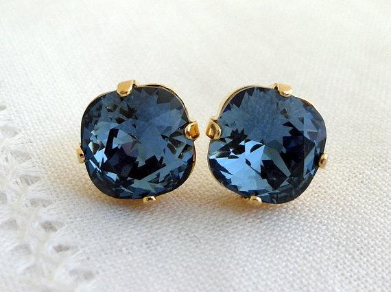 Mariage - Navy blue deep blue crystal stud earrings, Bridesmaids jewelry, Swarovski stud earrings, Bridesmaids gift, Bridal earrings, Gold earrings