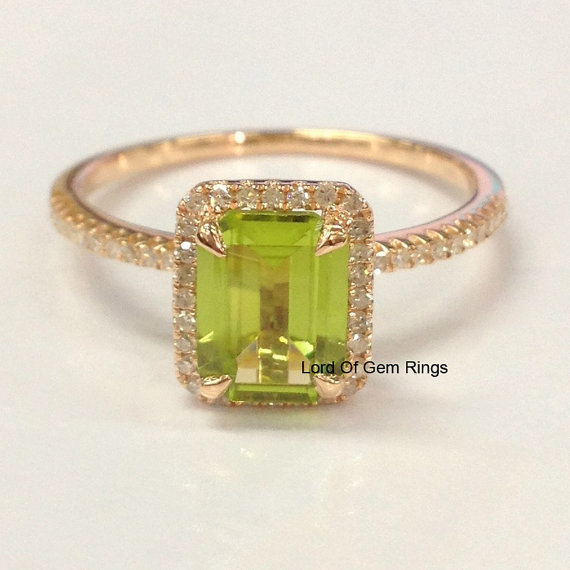 Peridot Diamond Ring in 14K Rose Gold,6x8mm Emerald Cut Green Peridot  Diamonds Engagement Promise Ring,White/Yellow Gold Available