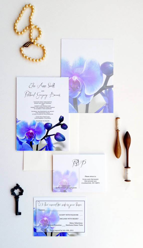 Mariage - Blue orchid wedding invitations, dendrobium orchid wedding invites, wedding invites samples
