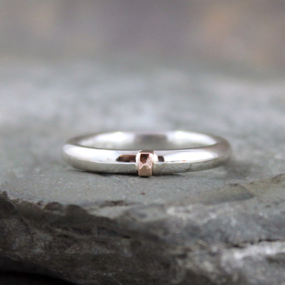 Wedding - 14K Rose Gold and Sterling Silver Band - Round Comfort Fit Style - Men's or Ladies Jewellery - 3mm Wedding Bands - Mixed Metal-Stacking Ring