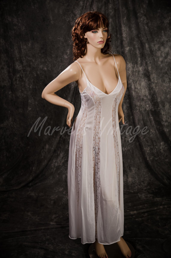 Vintage White Olga Nightgown Lingerie Long Style 92265 Lace Panels ...