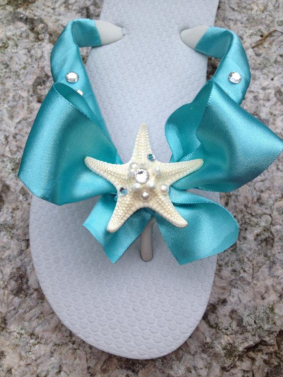 Mariage - Wedding/Bridal Shoes/Flip Flop/Wedges for the Bride with JEWELLED STARFISH.BeachWedding.AQUA Blue Flip Flops.Bridal BowZ Flip Flops.