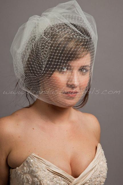Wedding - Double Layer Birdcage Bridal Veil, Illusion Tulle and Russian Netting - Tabitha