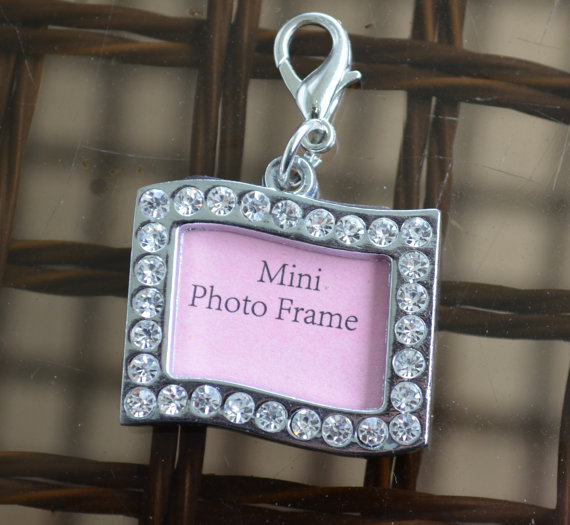 Свадьба - Rhinestone Wedding Bouquet Photo Charm Rectangle Swerve Silver Memory Accents Frame Bling Keepsake