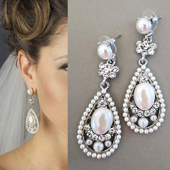 Bridal Drop Earrings With Pearl Wedding Crystal Jewelry Large Ivory Rhinestone