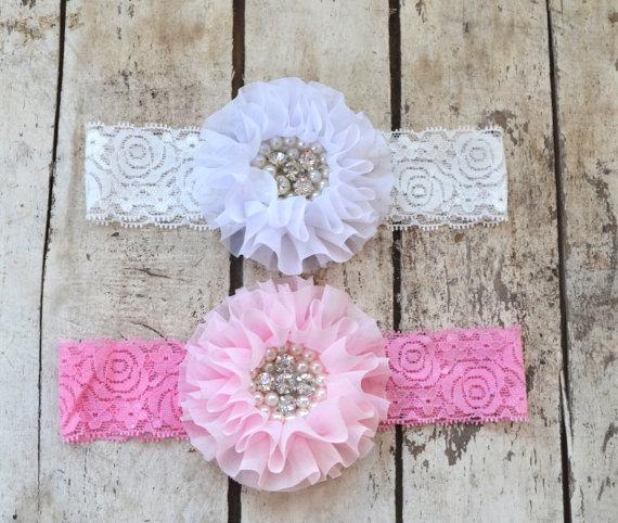 زفاف - You Pick Pink White Lace Headband, Toddler Lace headband, Girls,  headband, Flower girl headband, Wedding headpiece Rhinestone Pearls