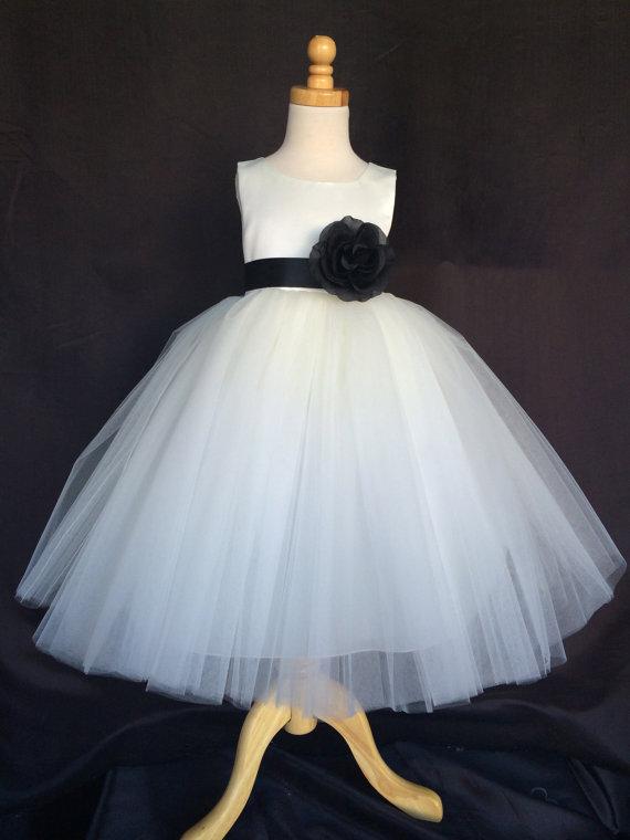 bcfb747fcd4 Ivory Wedding Bridal Bridesmaids Tulle Flower Girl dress Toddler 9 12 18 24  Months 2 4 6 8 10 12 14 Sash Color 24