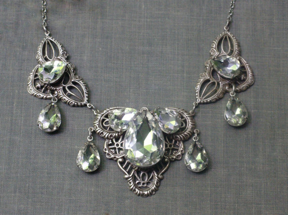 Mariage - Crystal bridal necklace pear Edwardian antique style silver or brass filigree wedding jewelry Titanic victorian elegant