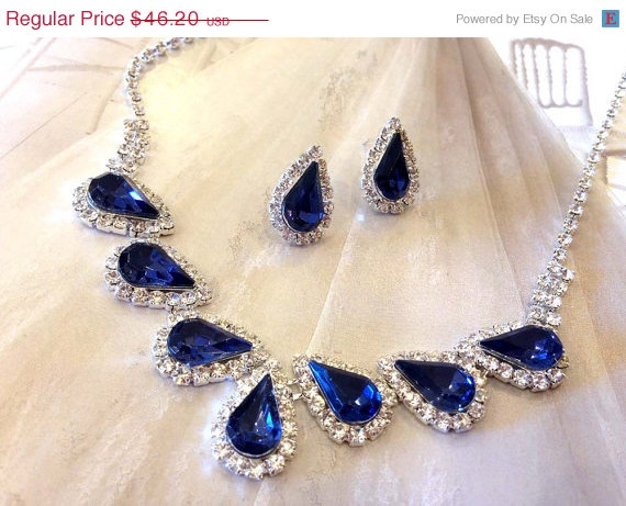 Mariage - Wedding jewelry set ,bridesmaid jewelry set, Bridal necklace earrings, vintage inspired Navy blue rhinestone crystal jewelry set