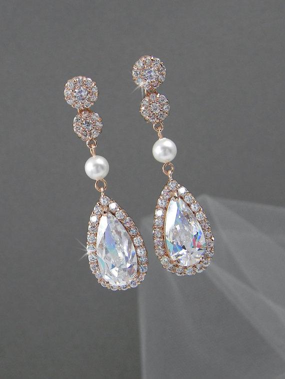 Mariage - Rose Gold Bridal Earrings, Wedding jewelry, Crystal Bridal earrings, Swarovski Halo Bridesmaids, Chelsea Crystal Drop Earrings