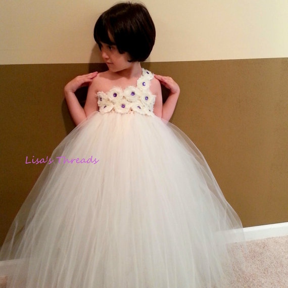 Wedding - Flower girl dress/ Junior bridesmaids dress/ White Flower Girl/ Flower girl pixie tutu dress/ Rhinestone tulle dress