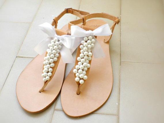 82c41b158d05 Wedding sandals- Greek leather sandals decorated with white pearls and  satin bow -Bridal party shoes- White women flats- Bridesmaid sandals