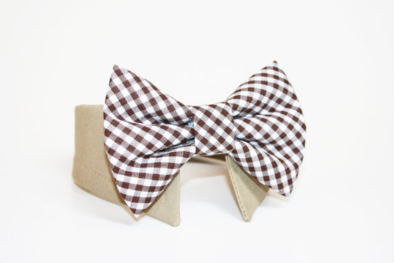 Mariage - Gingham Dog Bow Tie- Shirt and Bow Tie Collar-  Wedding Dog Tie- Brown Gingham