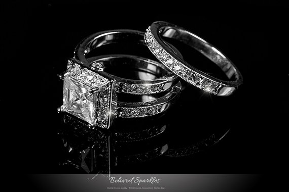 Mariage - 2 Carat Princess Cut Engagement Ring Set, Bridal Solitaire 4.5 Carat CZ Ring Vintage Classic Wedding Anniversary Cubic Zirconia Diamond Ring