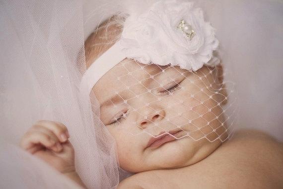 Hochzeit - Baby Baptism Headband .. Shabby Chic ..   Vintage Christening Headband .. Birdcage Veil .. Shabby Roses Pearls