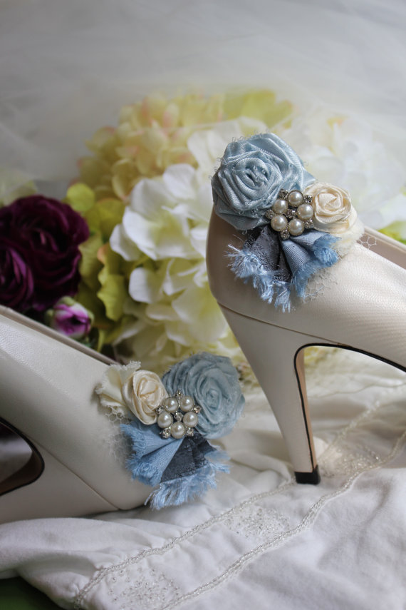 Mariage - Wedding or Dress- Something blue, rolled rosette shoe clips