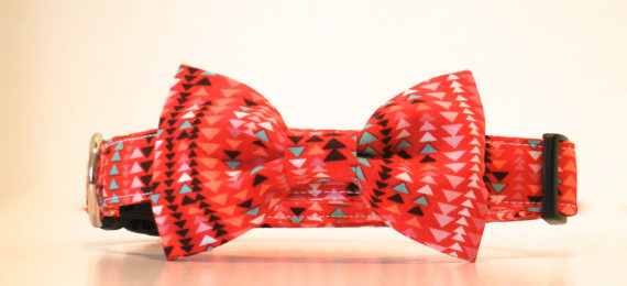 Mariage - Bow Tie Dog Collar Aztec Arrow Geometric Red Wedding Accessories Made to Order