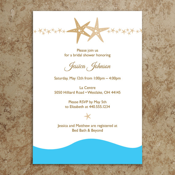 beach invitation diy printable pdf beach bridal shower invitation starfish bridal shower invitation beach party invitation
