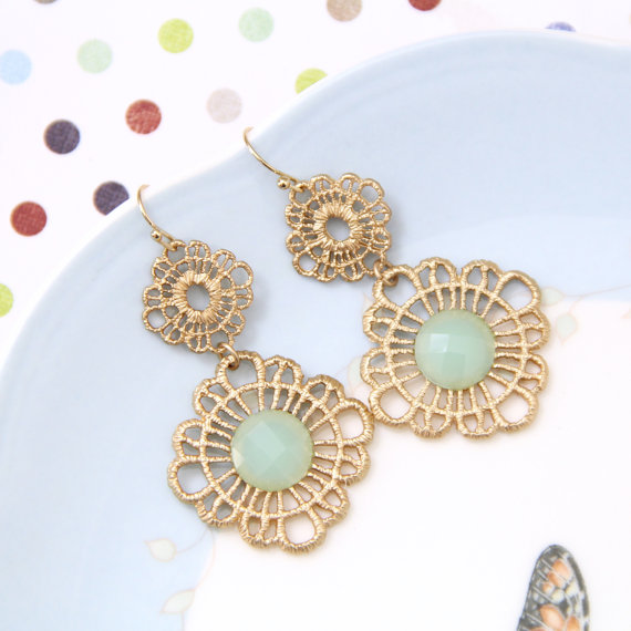 Wedding - Matte Gold Metal Lace with Mint  Stone Earrings, Bridal Earrings, Bridesmaid Earrings, Bridal Shower Gift