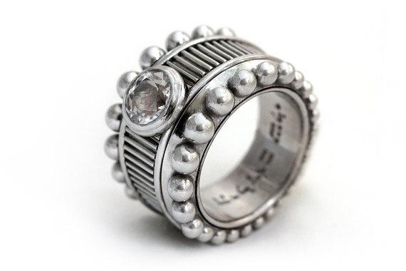 زفاف - Big cocktail statement ring, natural white topaz engagement ring, sterling silver, Unique ring  Big jewelry, Topaz Ring