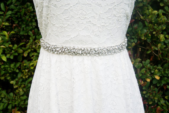 Wedding - wedding sash, crystal sash, Bridal rhinestone beaded sash -Nadege -