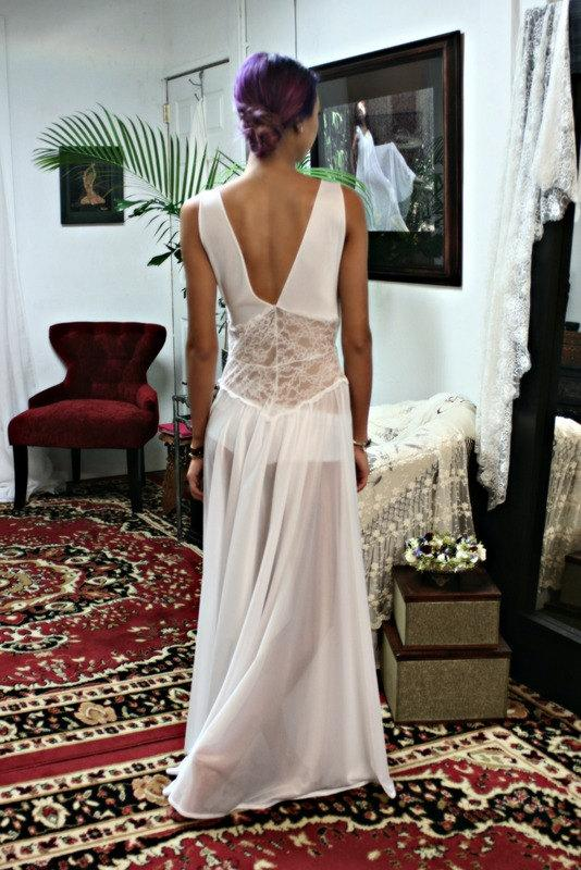 Wedding - White Lace Nightgown Bridal Lingerie Wedding Sleepwear Nylon Nightgown Holiday Lingerie Nightgown