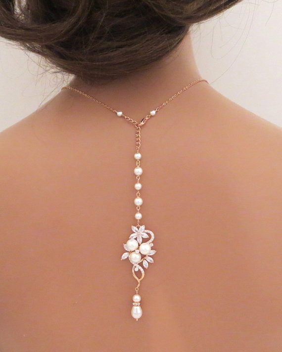 Bridal Backdrop Necklace Rose Gold Back Drop Wedding Jewelry Crystal Pearl Simple Mia