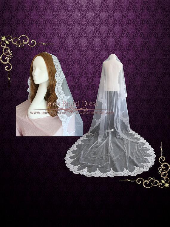 Mariage - Cathedral Length Lace Mantilla Veil