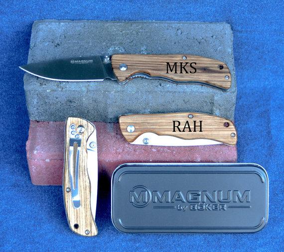 Wedding - Engraved Boker Magnum Knife in Gift Tin,  High Quality Folding Knife, Personalized Mens Gift, Groomsmen Knife, Fathers Day present