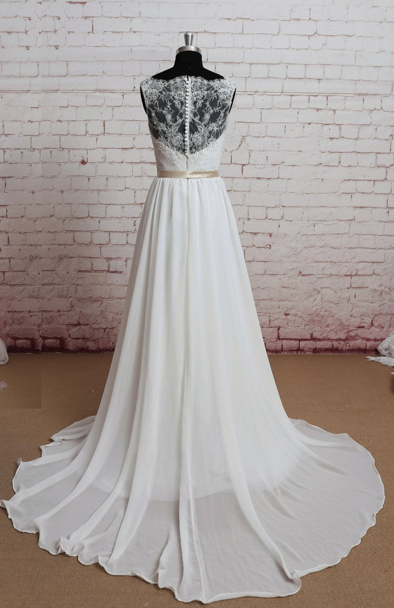 Sheer Lace Back Wedding Dress Sexy Wedding Dress A Line Bridal Gown Ivory