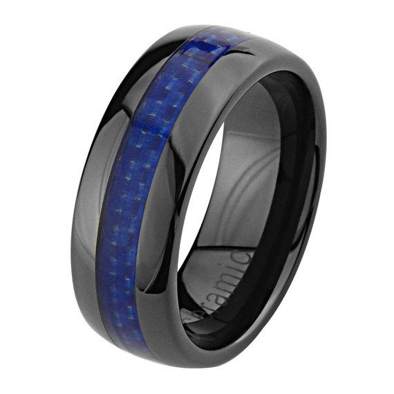 8mm High Polish Black Ceramic fort Fit Band Blue Carbon Fiber Inlay Men Wo