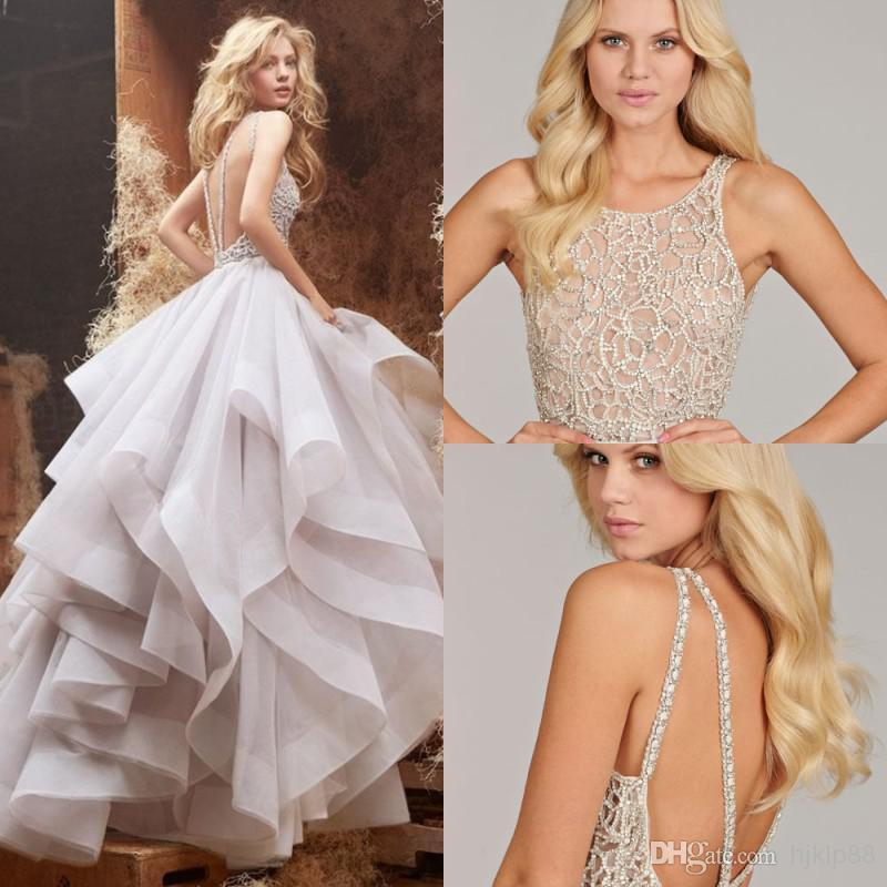 Свадьба - Unique Desige Hayley Paige Wedding Dresses Sexy Backless Sheer Jewel Neck Floor Length Ball Gown Beading Organza Bridal Gowns EM01752, $188.49
