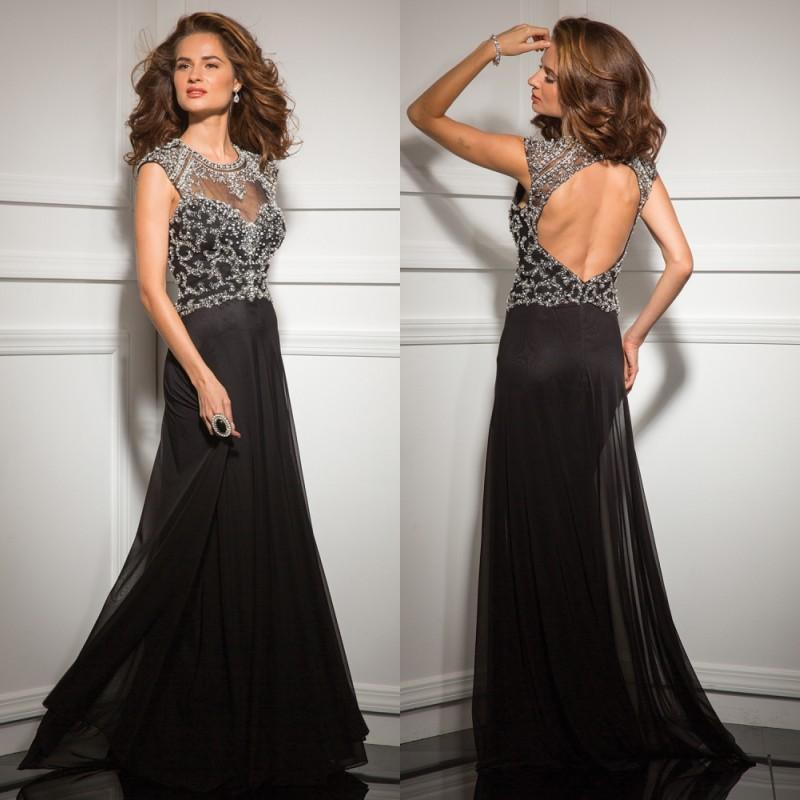 Mariage - 2015 Black Sheer Neck Evening Dresses Capped See-Through Hollow Beads Chiffon A-line Prom Dress with Shining Crystals Vestidos Formal Dress Online with $132.62/Piece on Hjklp88's Store