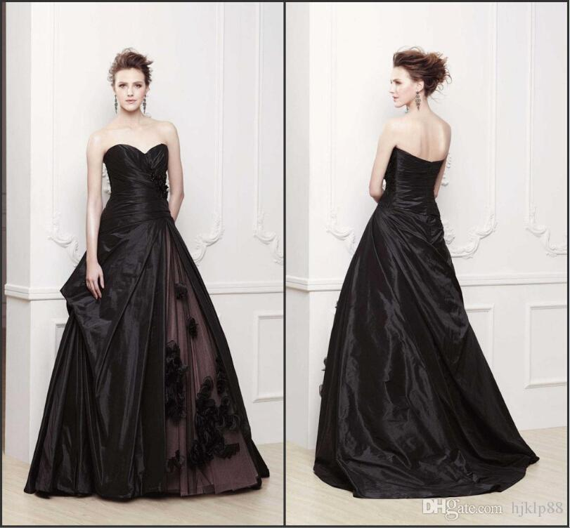 28 Two Piece Wedding Dresses: 2015 Vestidos New Arrival Flower Black Wedding Dresses